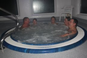 Club members in the jacuzzi