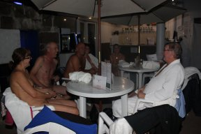 Club members relazing by the poolside